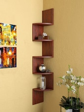 DecorNation Corner Wall Mount Shelf Zigzag Shape (Rusty Cedar) -  online shopping for Wall Shelves