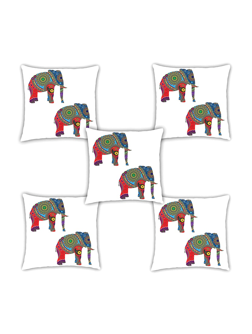 Ambbi Collection Digitally Printed Cushion Cover Two Elephant With Traditional Pattern Set Of 5 - By