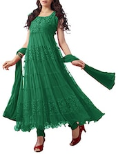 Dark Green Net Brasso Anarkali Dress Material - By