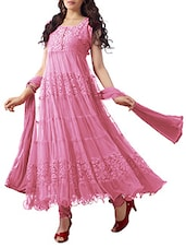 Pink Net Brasso Anarkali Dress Material - By
