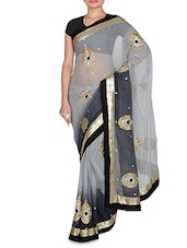 Black Chiffon Embroidered Saree - By
