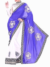 Blue Satin Embroidered Saree - By