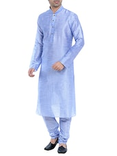 powder blue silk blend kurta pyjama set -  online shopping for ethnic wear sets
