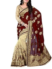 Red  Viscose & Jacquard Embroidered Saree - By