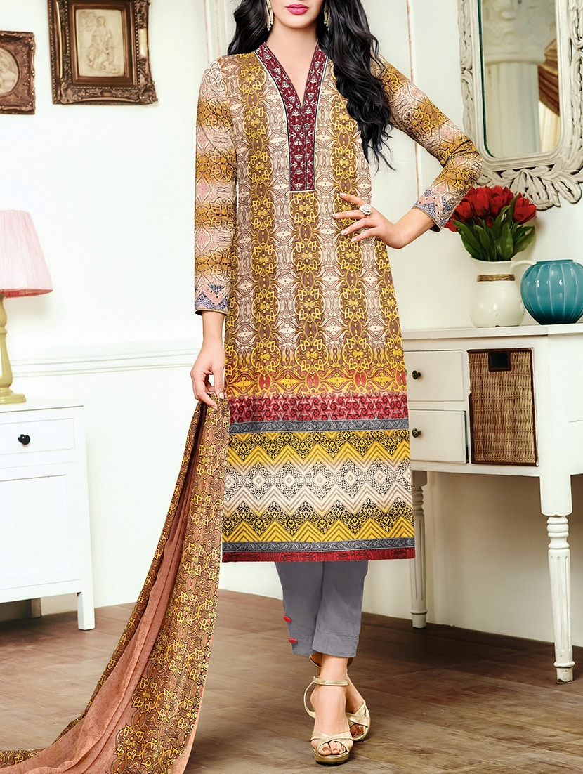 beige cotton printed churidaar suits dress material
