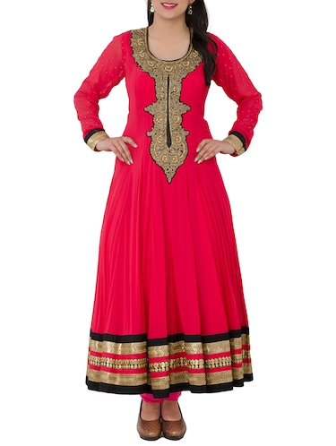 red georgette anarkali suits stitched suit - 13196158 - Standard Image - 1