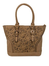 Beige Faux Leather Cut Worked Tote Bag - By