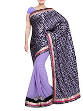 Purple Embroidered Half And Half Saree - By