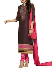 Brown And Pink Embroidered Suit Set - By