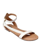 White strappy leatherette flats -  online shopping for sandals