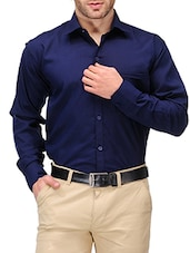 solid navy blue cotton blend formal shirt -  online shopping for formal shirts