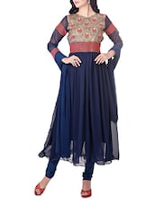 Navy Blue Embroidered Stitched Suit Set - By