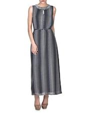 Multicolored Viscose Printed Sleeveless Maxi Dress - By