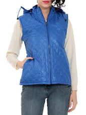 Blue Hooded Sleeveless Quilted Jacket - By