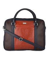Navy Blue Leatherette Laptop Bag - By