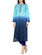 Turquoise Cotton Long Kurta - By