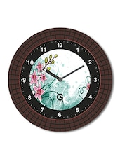 Multicolored Plastic And Glass Printed Floral Printed Wall Clock - By