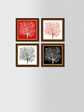 Multicolored Synthetic Wood And Paper Tree Painting Wall Painting With Frame - By