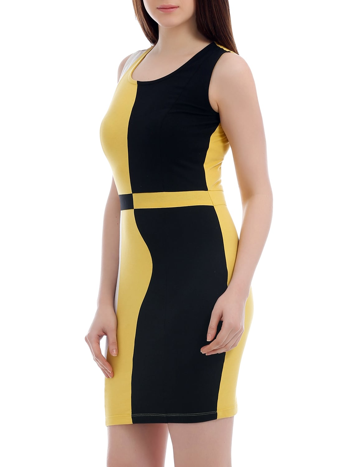 a0508c588bf1 Buy Yellow Jersey Color Block Bodycon Dress by Texco - Online shopping for Dresses  in India