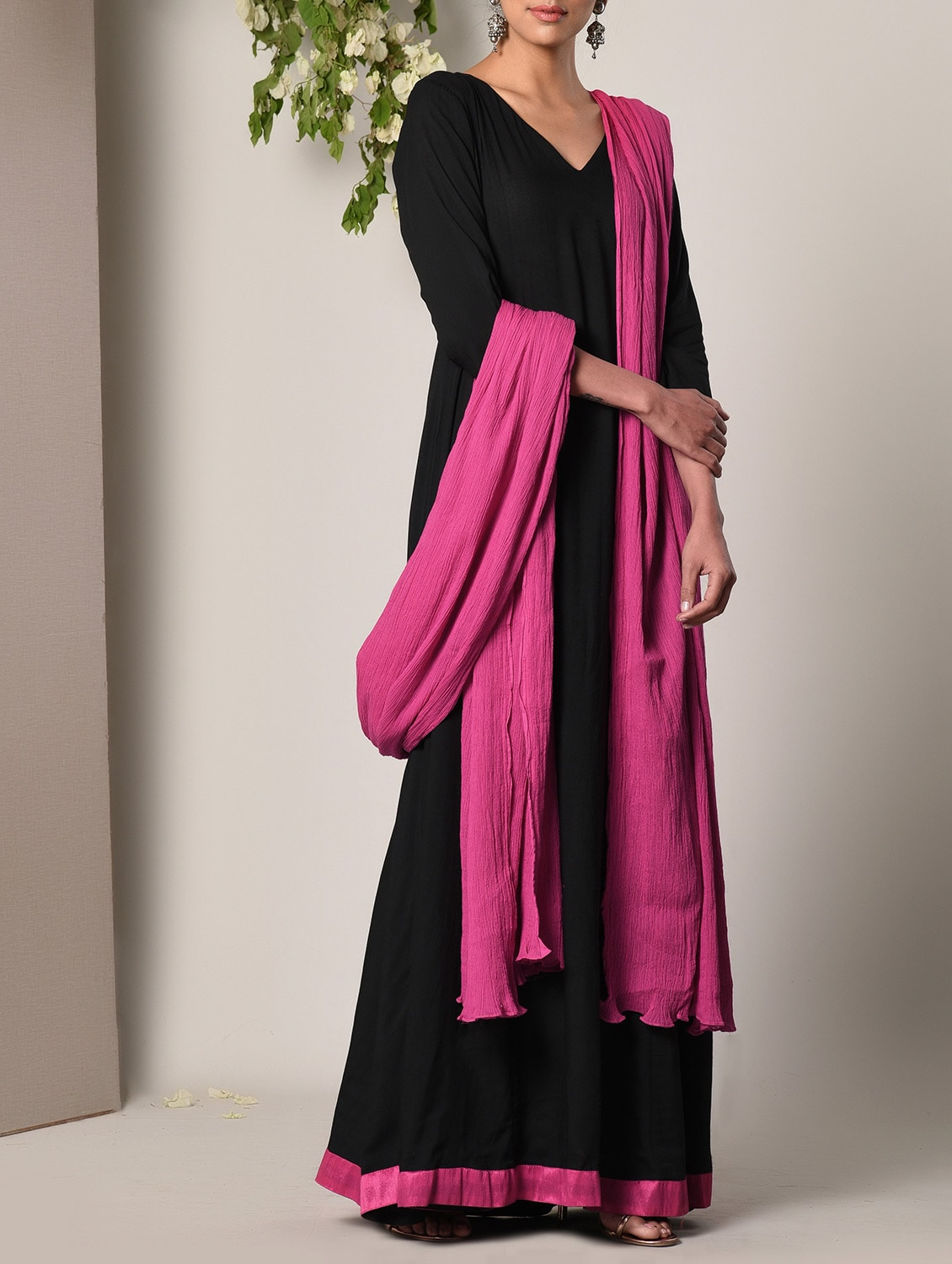 82eaa69f41 Black Layered Maxi Dress And Dupatta Set