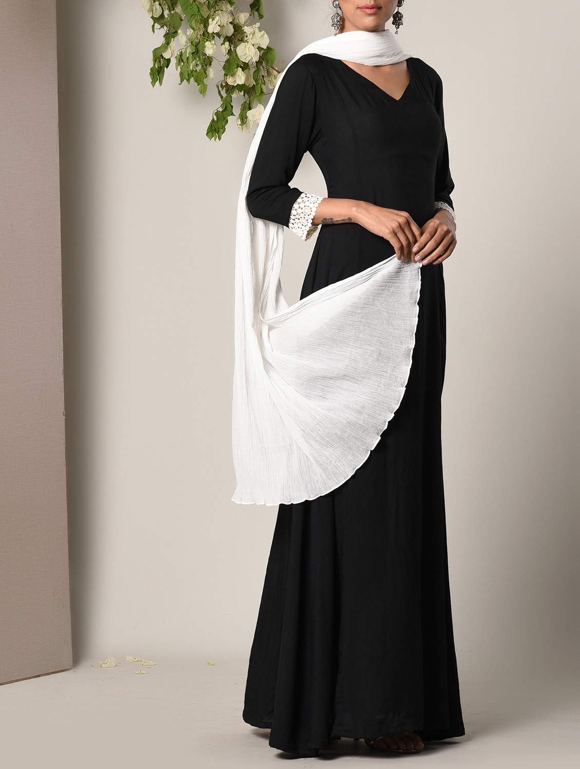 cfab3b681d Buy Black Layered Maxi Dress And Dupatta Set for Women from Truebrowns for  ₹3149 at 10% off