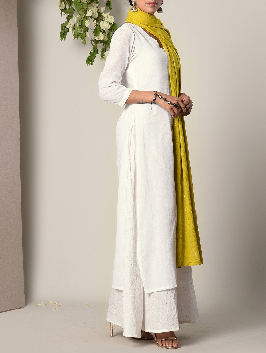 e4c7903e4f2 Buy White Cotton Dress And Dupatta Set for Women from Truebrowns for ₹3532  at 7% off