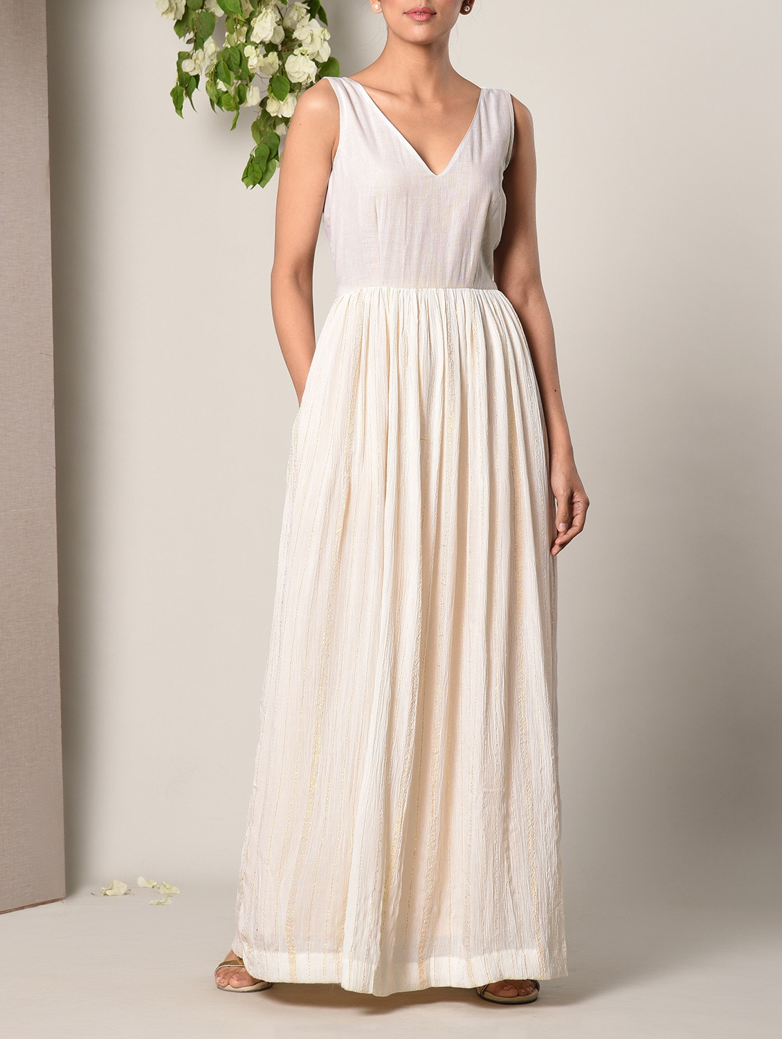 adefb9a84710 Buy Off-white Cotton Maxi Dress for Women from Truebrowns for ₹2999 at 0%  off