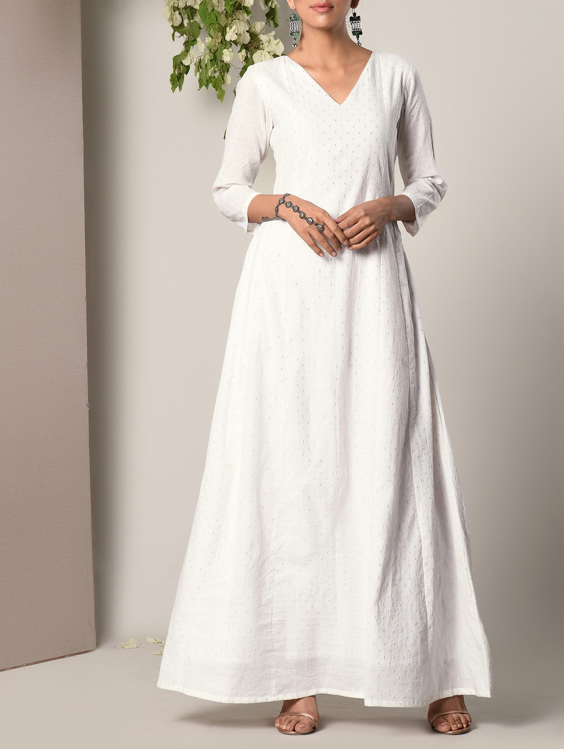 c0910cfe4264 Buy White Cotton Maxi Dress for Women from Truebrowns for ₹2999 at 0% off |  2019 Limeroad.com