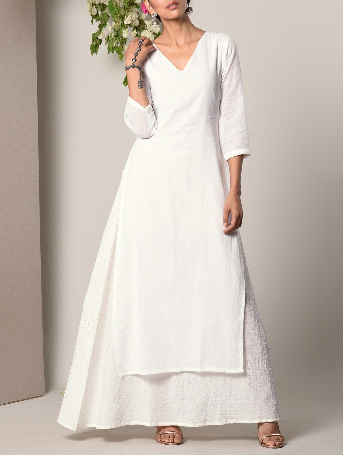 Buy White Layered Cotton Maxi Dress by Truebrowns - Online shopping for  Dresses in India  b55a2099c