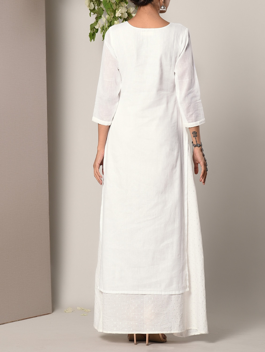 57d236755bd Buy White Layered Cotton Maxi Dress for Women from Truebrowns for ...