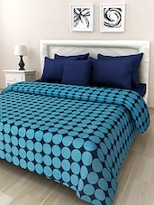 Blue And Black Polka Doted Double Bed Blanket - By