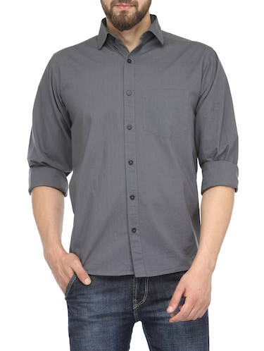grey cotton casual shirt - 13269582 - Standard Image - 1