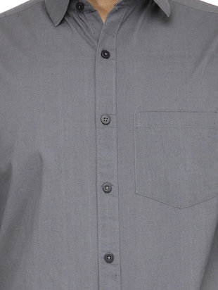 grey cotton casual shirt - 13269582 - Standard Image - 4