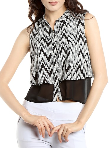 black chevron printed georgette regular shirt - 13269641 - Standard Image - 1