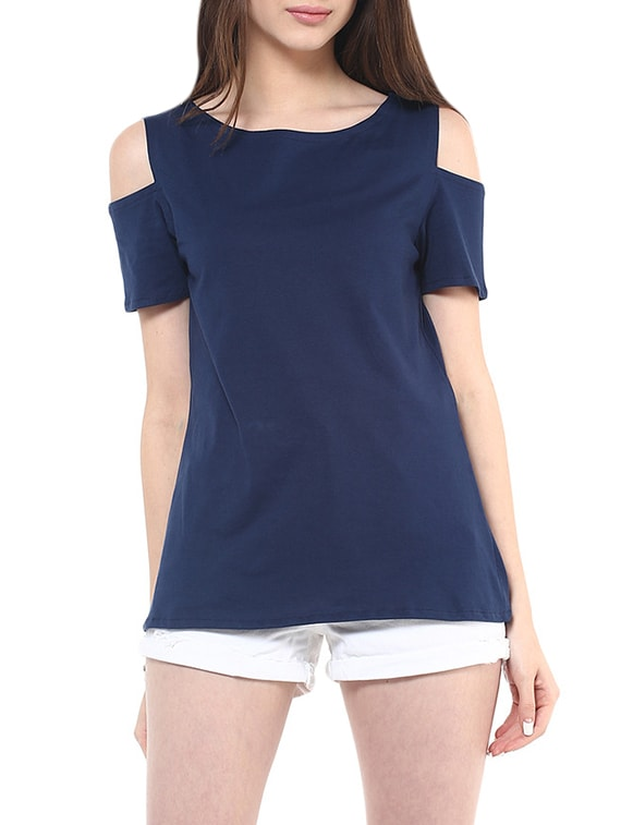 23530c4be2fd5 Buy Cold Shoulder Boat Neck Top for Women from Pannkh for ₹572 at 5% off