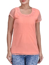 Solid Peach Georgette Top With Lace Detail - By