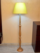 Yellow Acrylic And Wooden Floor Lamp - By