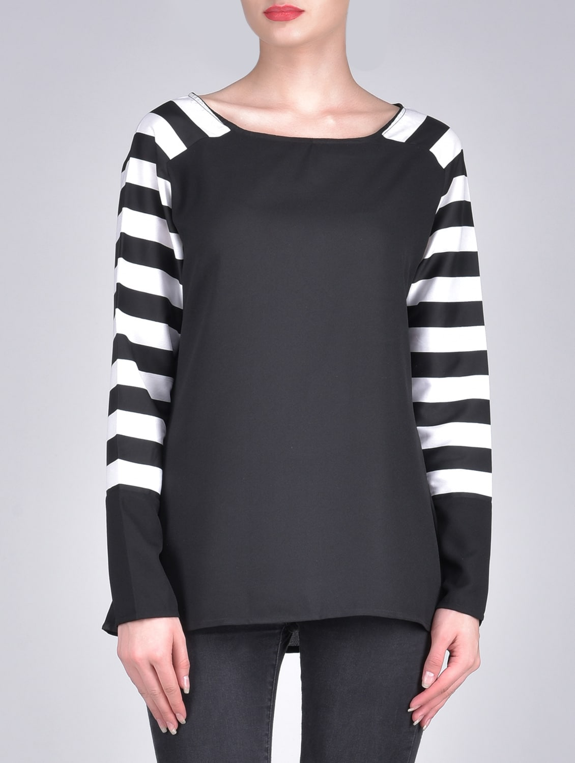 Black Georgette And Crepe Top With Striped Sleeves - By
