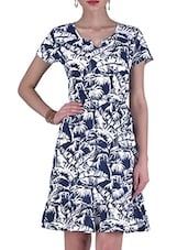 Blue And White Knitted Cotton Printed Dress - By