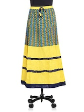 Yellow And Blue Cotton Printed Skirt - By