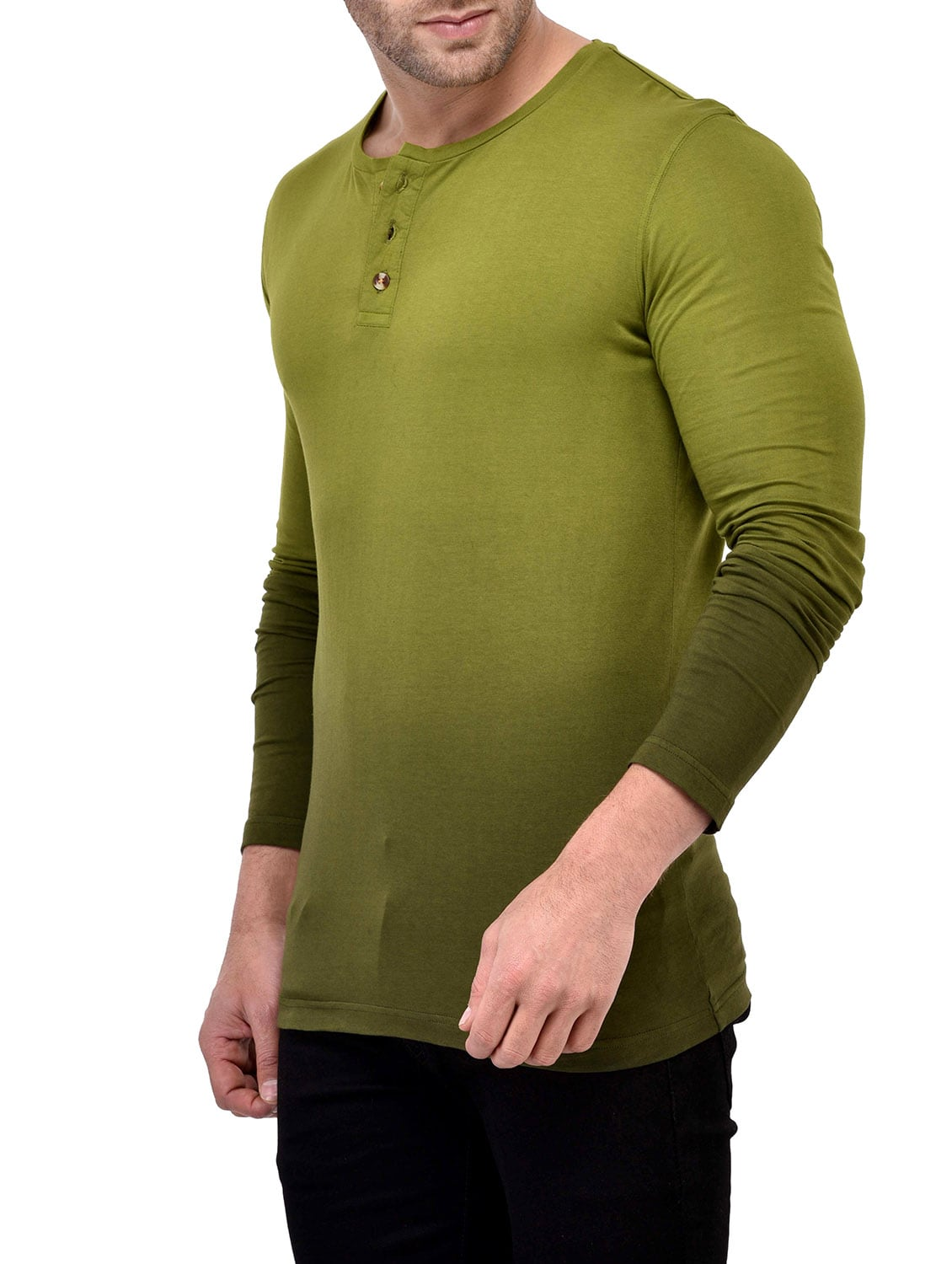 4c345cf48 Buy Olive Green Ombre Cotton T-shirt for Men from Gespo for ₹500 at 44% off  | 2019 Limeroad.com