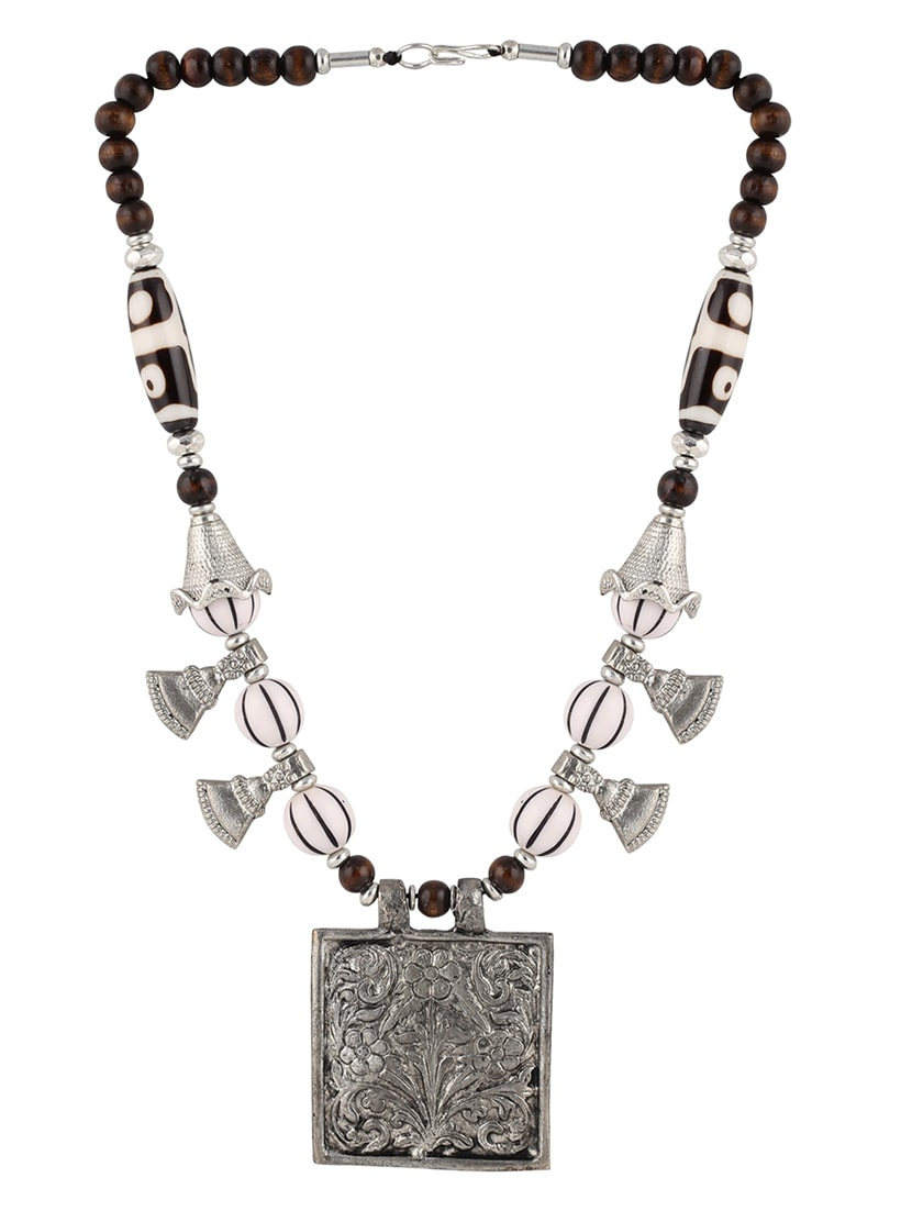 ca9f43305 Buy Silver Metal Tribal Necklace by Aradhya Jewellery - Online shopping for Necklaces  in India