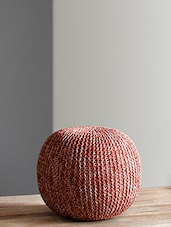Orange And White Knitted Cotton Pouf - By