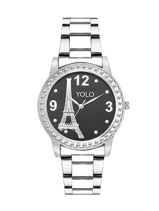 round dial silver stainless steel analog Wrist Watch -  online shopping for Analog watches
