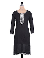 Black Cotton Kurta With Printed Yoke - By