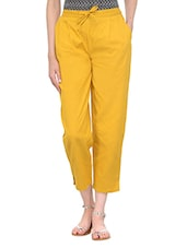 yellow cotton cigarette pants -  online shopping for Trousers