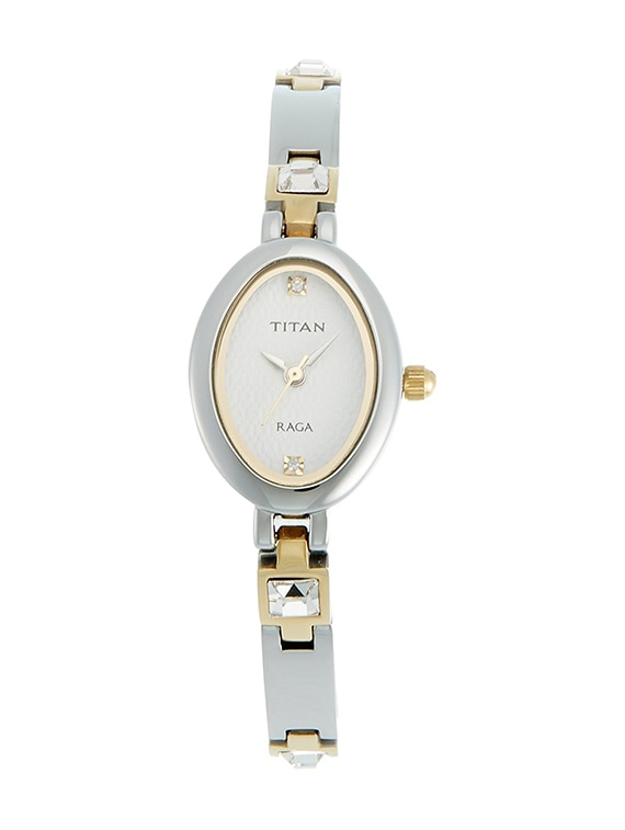 titan raga analog white dial women\'s watch   ne9717bm01a