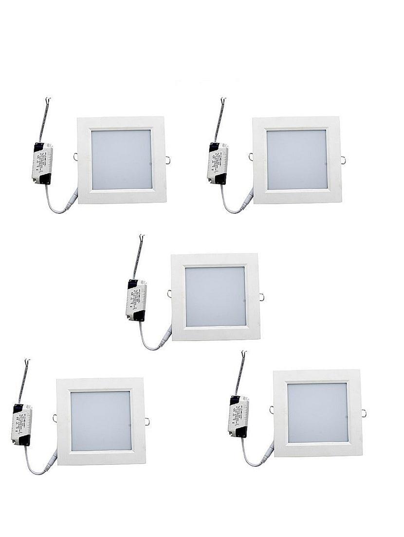 set of 5 white 3w square led panel light