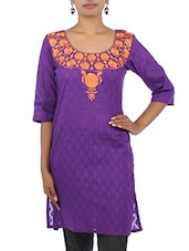 Purple Floral Embroidered Quarter Sleeved Cotton Kurta - By