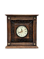 Brown And Black Antique Wood And Iron Wall Clock - By